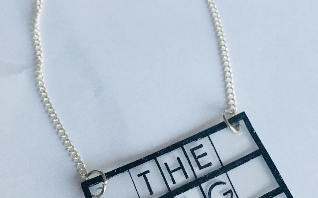 Fun shrink plastic necklace- Claire Dennis